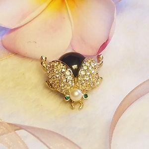 🐞VINTAGE Carolee Rhinestone bug beetle brooch pin